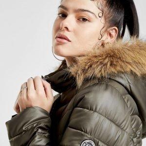 Supply & Demand Fur Hooded Padded Takki Vihreä