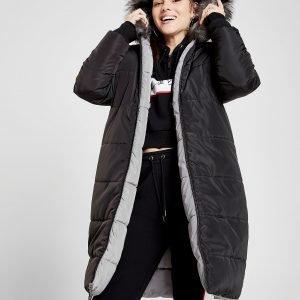 Supply & Demand Fur Reversible Longline Parka Jacket Musta