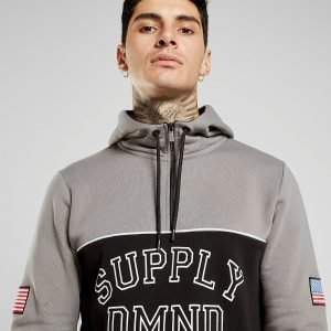 Supply & Demand Varsity Flag 1/2 Zip Hoodie Harmaa