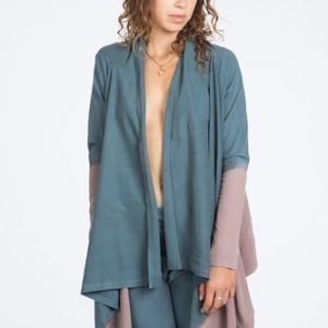 Urban Goddess Yoga Top Cardigan Wrap Me Up Charcoal Light Dip Dye