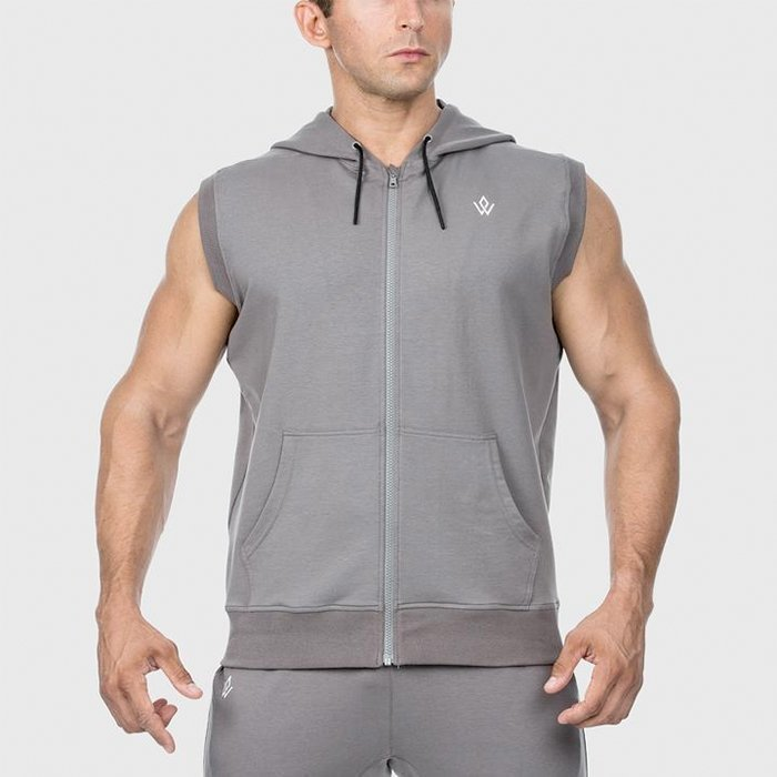 Workout Empire Imperial Sleeveless Hoodie Platinum L
